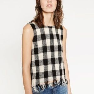 Zara Tweed Fringe Check Plaid Gingham Tank Top M